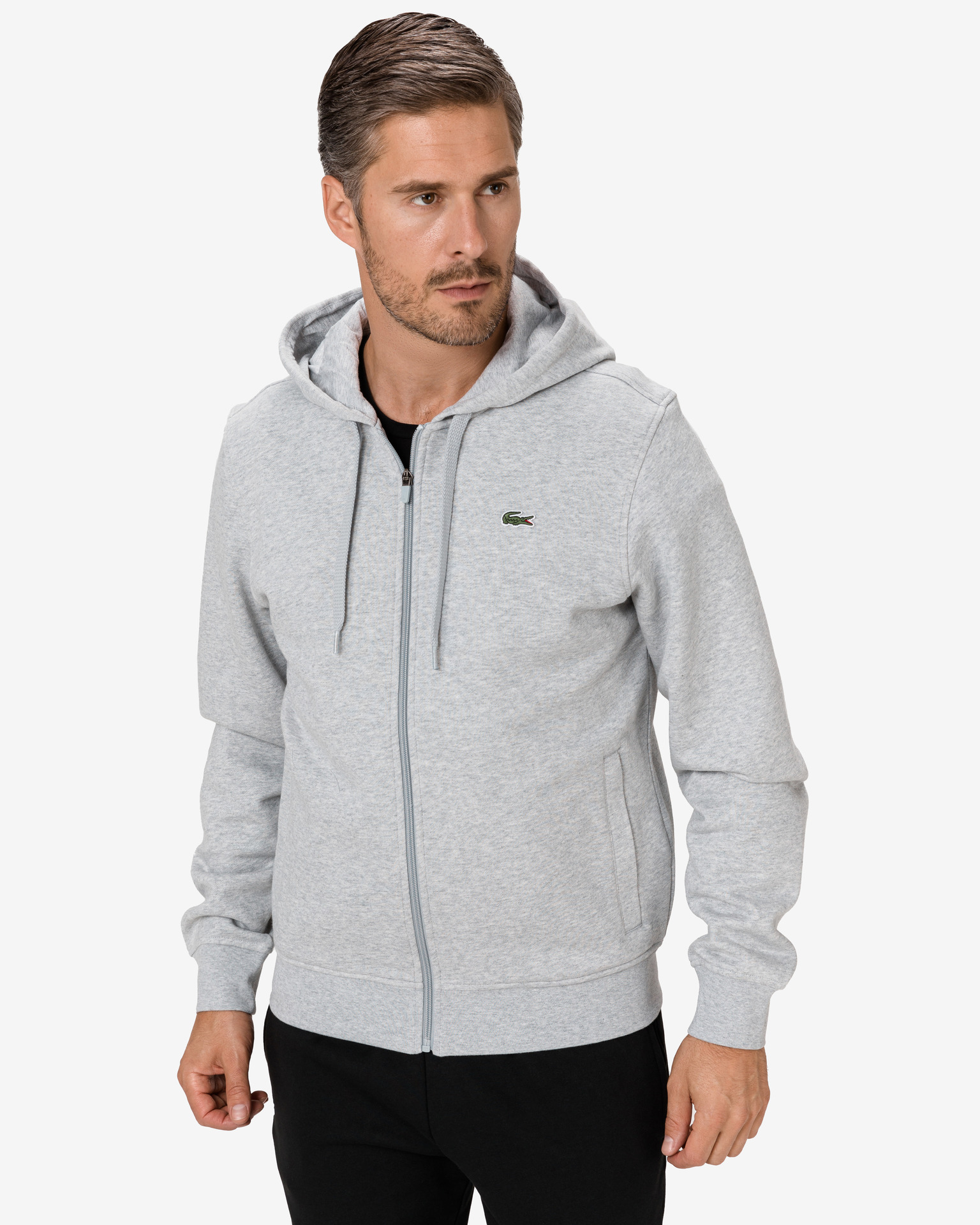Sport Hooded Lightweight Bimaterial Mikina Lacoste