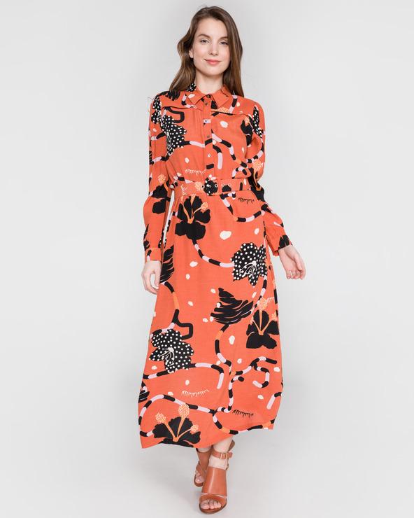 SELECTED Kiara Sukienka Czerwony Pomarańczowy