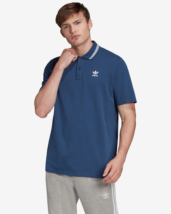adidas Originals Trefoil Essentials Polo T-Shirt Blau