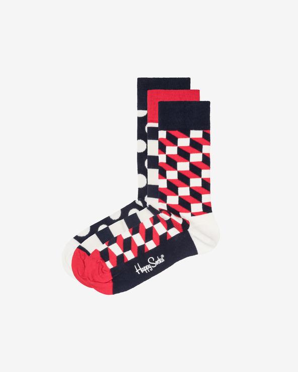 Happy Socks Stripe 3 Paar Socken Blau Rot